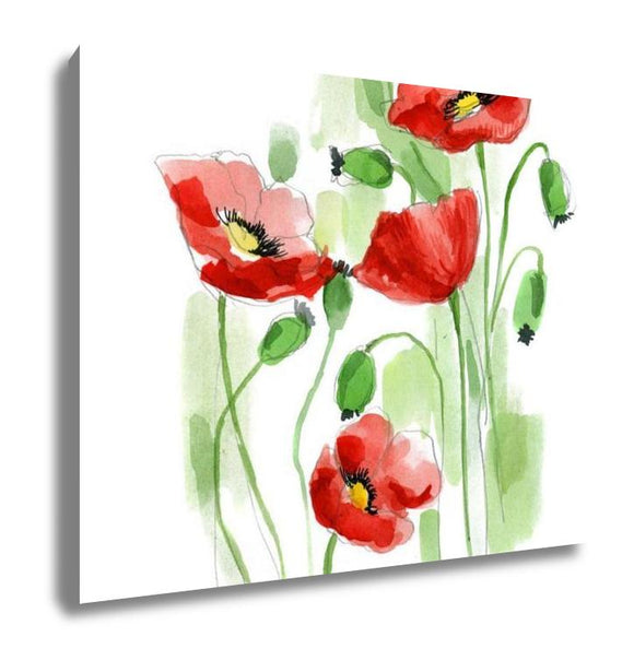 Gallery Wrapped Canvas, Painted Watercolor Poppies - customgiftstore.com