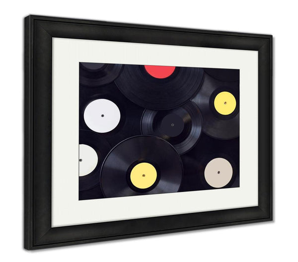 Framed Print, Many Vinyl Disks Musical Abstract - customgiftstore.com