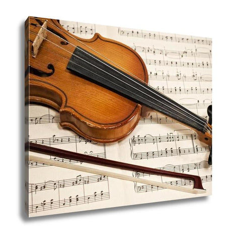 Gallery Wrapped Canvas, Old Violin And Bow On Musical Notes - customgiftstore.com