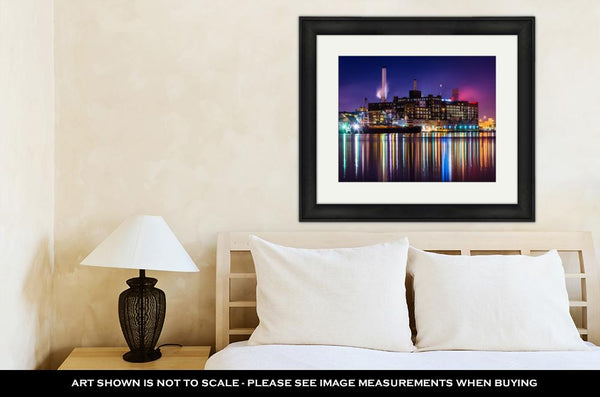 Framed Print, The Domino Sugars Factory At Night In Baltimore Maryland - customgiftstore.com