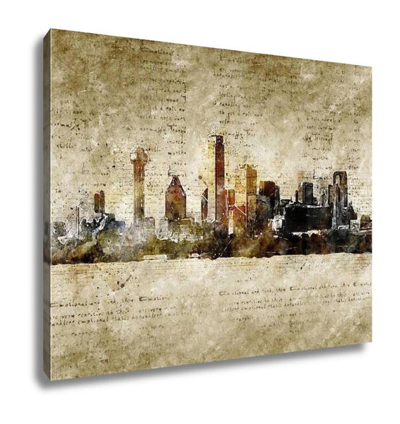 Gallery Wrapped Canvas, Skyline Of Dallas In Modern And Abstract Vintage Look - customgiftstore.com