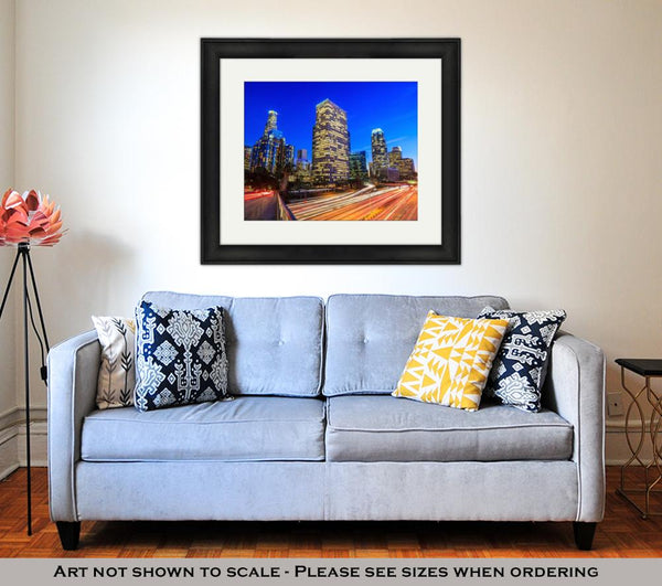 Framed Print, Downtown Los Angeles Skyline During Rush Hour - customgiftstore.com