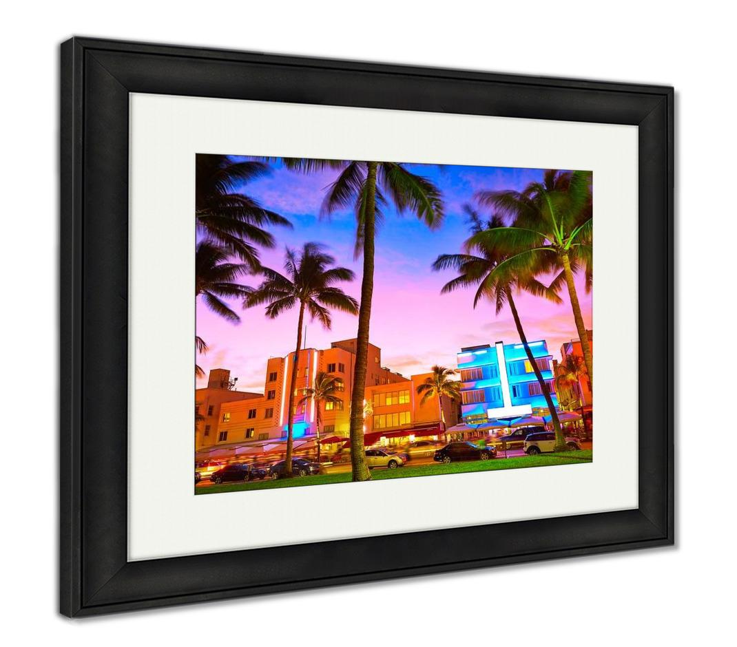 Framed Print, Miami Beach South Beach Sunset In Ocean Drive Florida Art Deco - customgiftstore.com