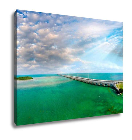 Gallery Wrapped Canvas, Florida Keys Bridge Beautiful Sunset Aerial View - customgiftstore.com