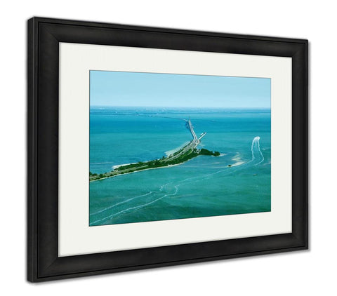 Framed Print, Aerial View On Sunshine Skyway Bridge Close To St Petersburg Florida - customgiftstore.com