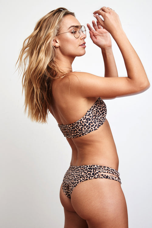 LEOPARD STRAPPY SWIM BOTTOM - Spiritual Gangster