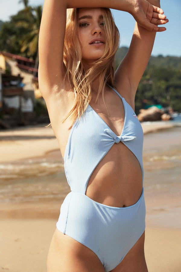 GO WITH THE FLOW ONE PIECE SWIMSUIT BLUE SKIES - Spiritual Gangster