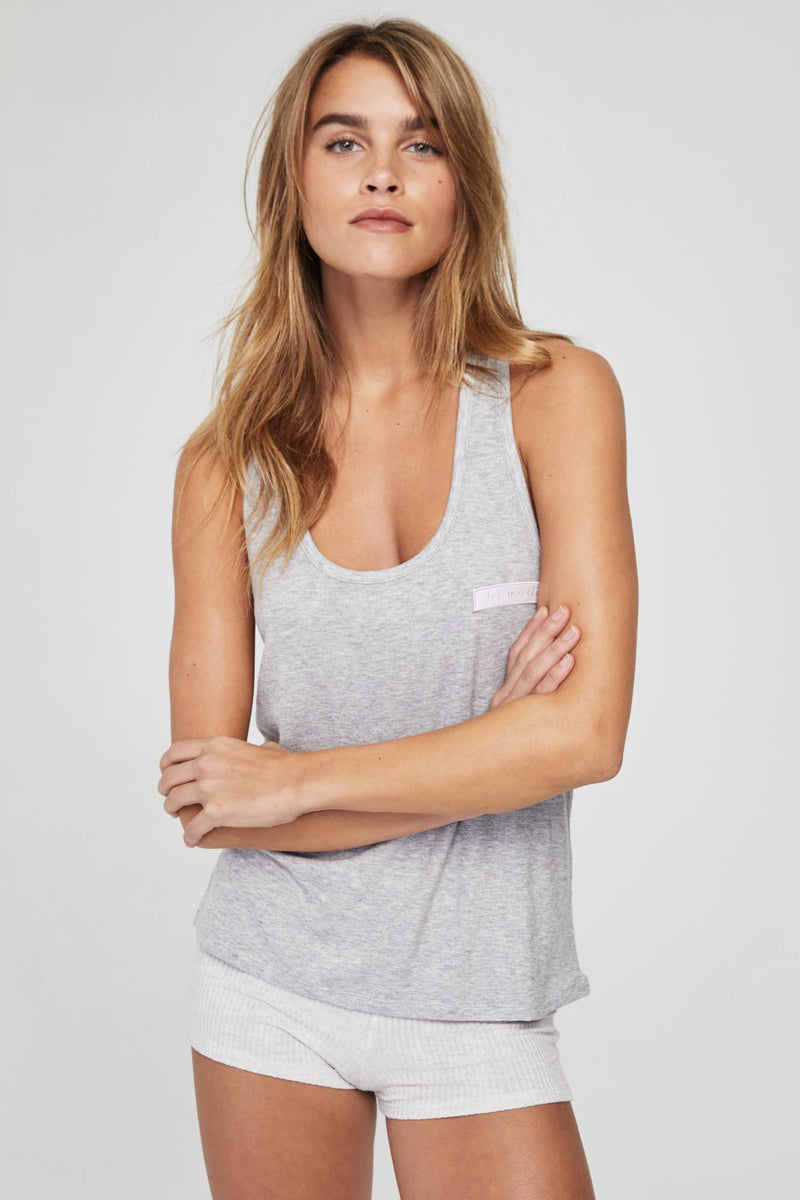 NAMASTE RIBBED RACERBACK GIRLFRIEND TANK