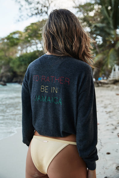 I'D RATHER BE IN JAMAICA SHRUNKEN SAVASANA PULLOVER - Spiritual Gangster