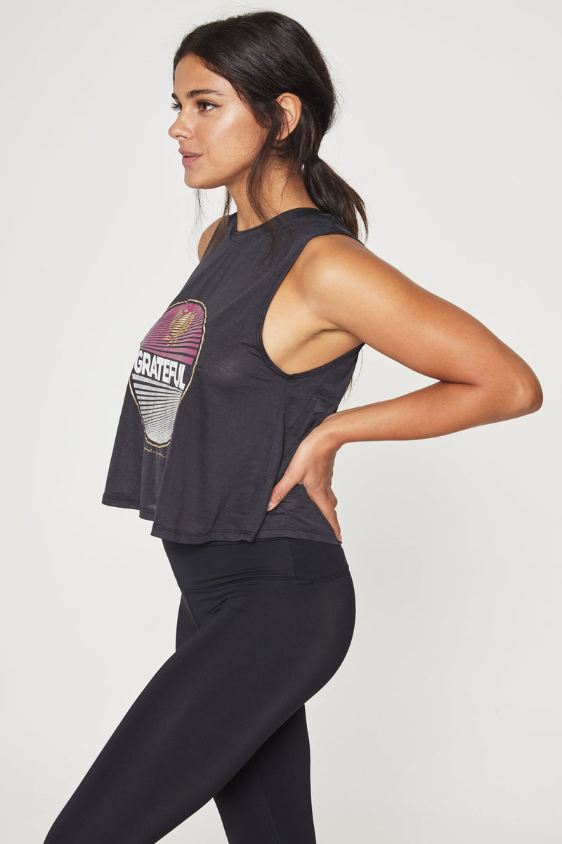 Grateful Active Crop Tank Vintage Black