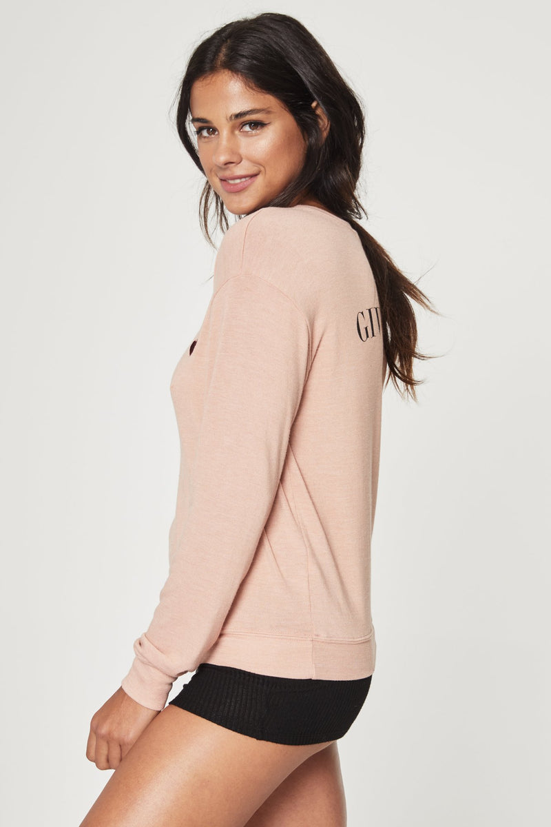 GIVE LOVE SAVASANA PULLOVER SAND