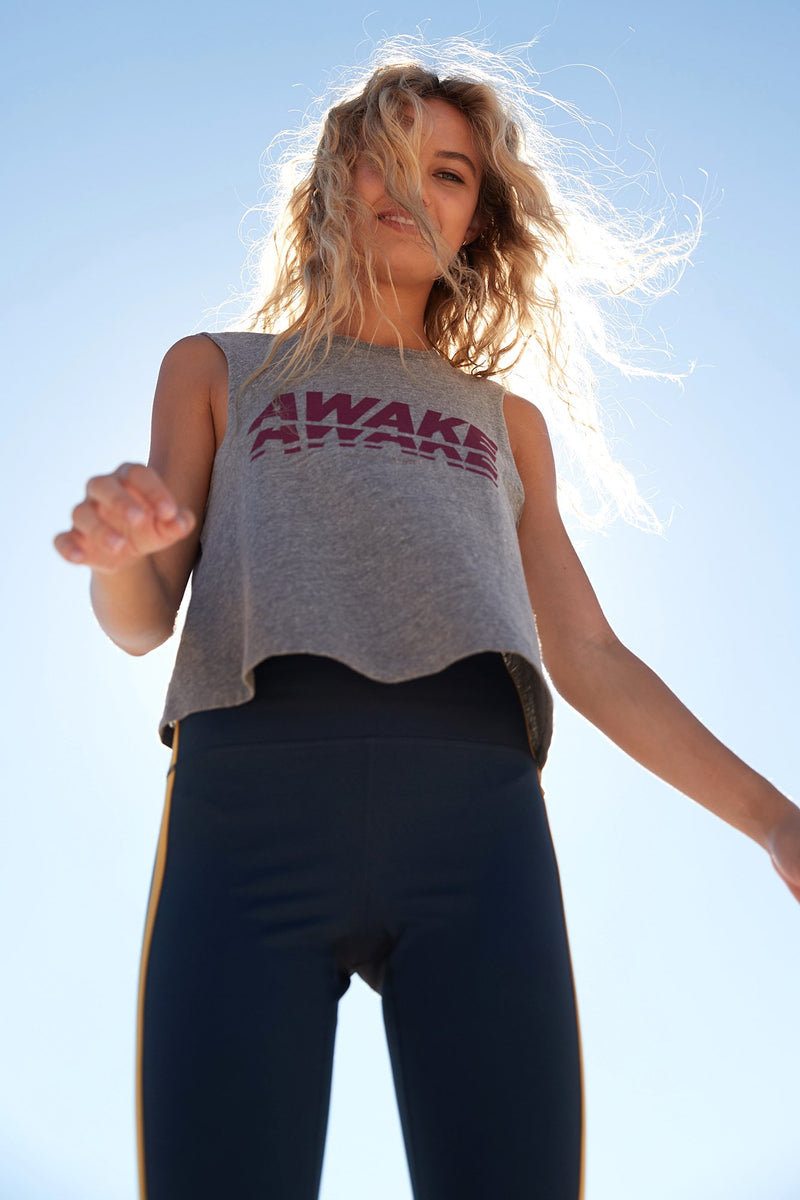 AWAKE CROP TANK HEATHER GREY