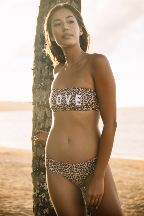 LEOPARD STRAPPY SWIM TOP - Spiritual Gangster