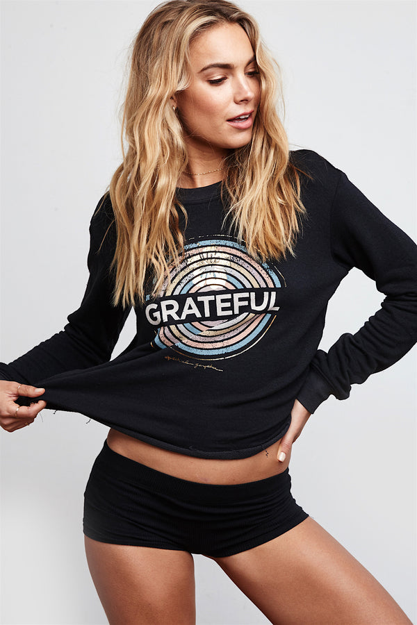 GRATEFUL MEDALLION CROP SWEATSHIRT - Spiritual Gangster