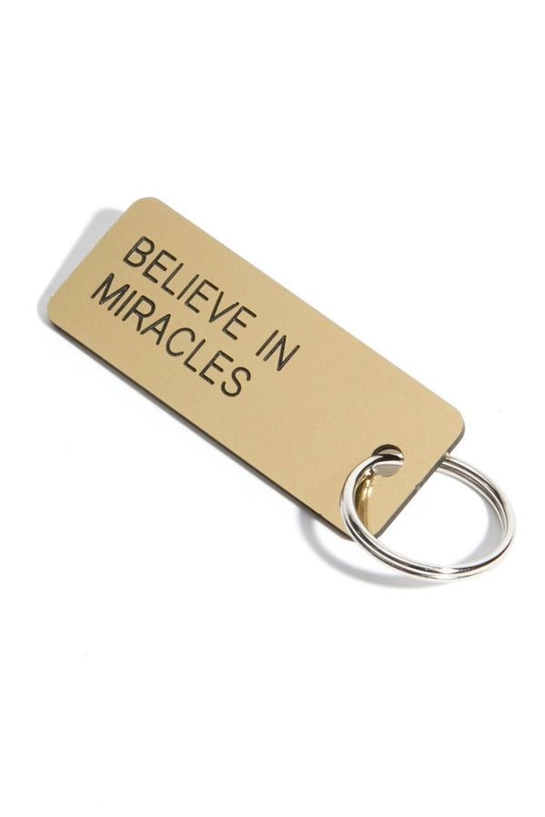 BELIEVE IN MIRACLES KEYTAG BRUSHED GOLD - Spiritual Gangster