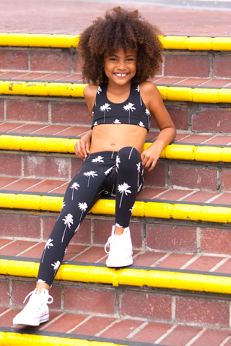 KIDS PALM PRINT ACTIVE LEGGING