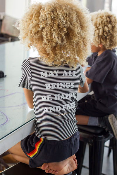 HAPPY AND FREE STRIPED KIDS TEE - Spiritual Gangster