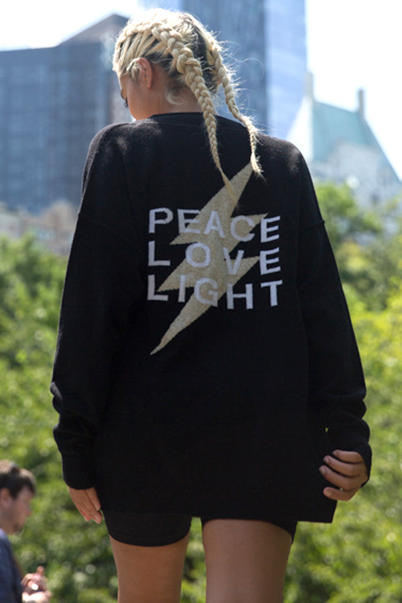 PEACE LOVE LIGHT VARSITY CARDI SWEATER