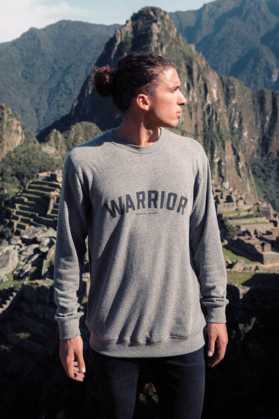 WARRIOR MENS OLD SCHOOL SWEATSHIRT HEATHER GREY - Spiritual Gangster