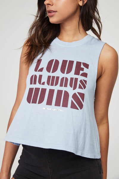 LOVE ALWAYS WINS CROP TANK FADED BLUE - Spiritual Gangster