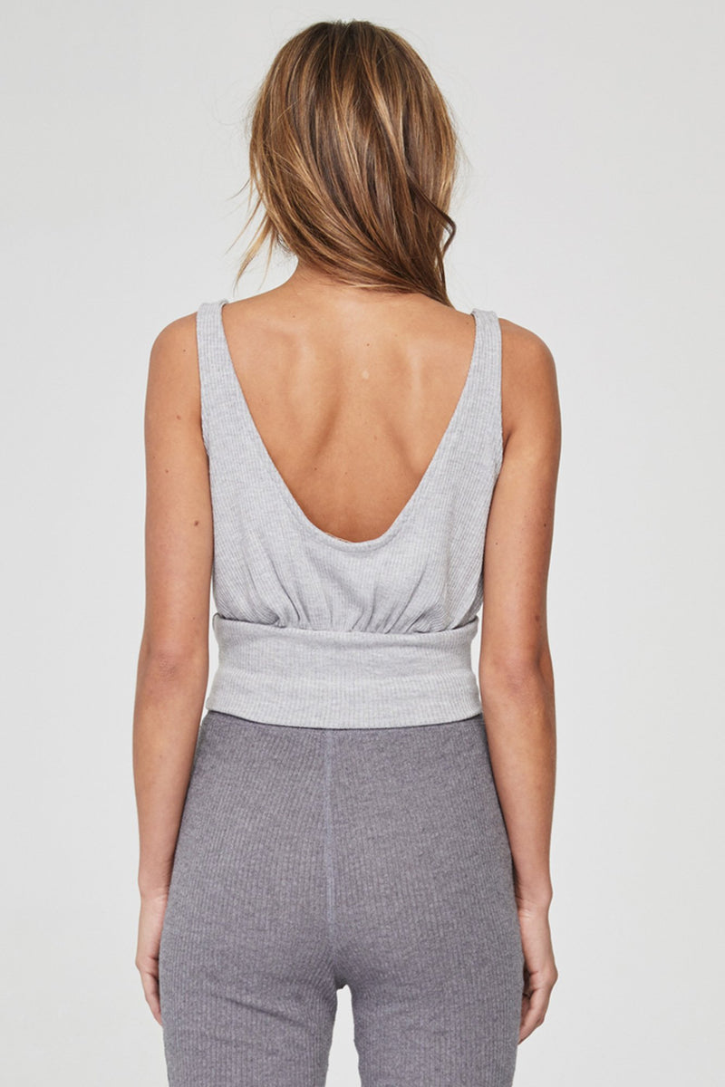 BAND CROP TANK HEATHER GREY
