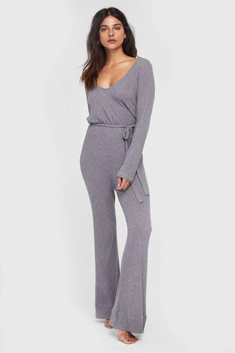 Long Sleeve Knit Jumpsuit Heather Grey