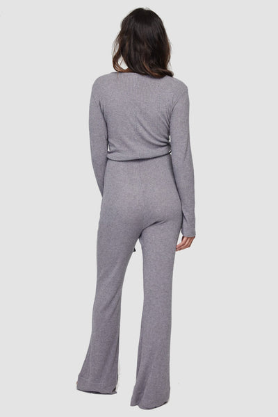 LONG SLEEVE KNIT JUMPSUIT HEATHER GREY - Spiritual Gangster