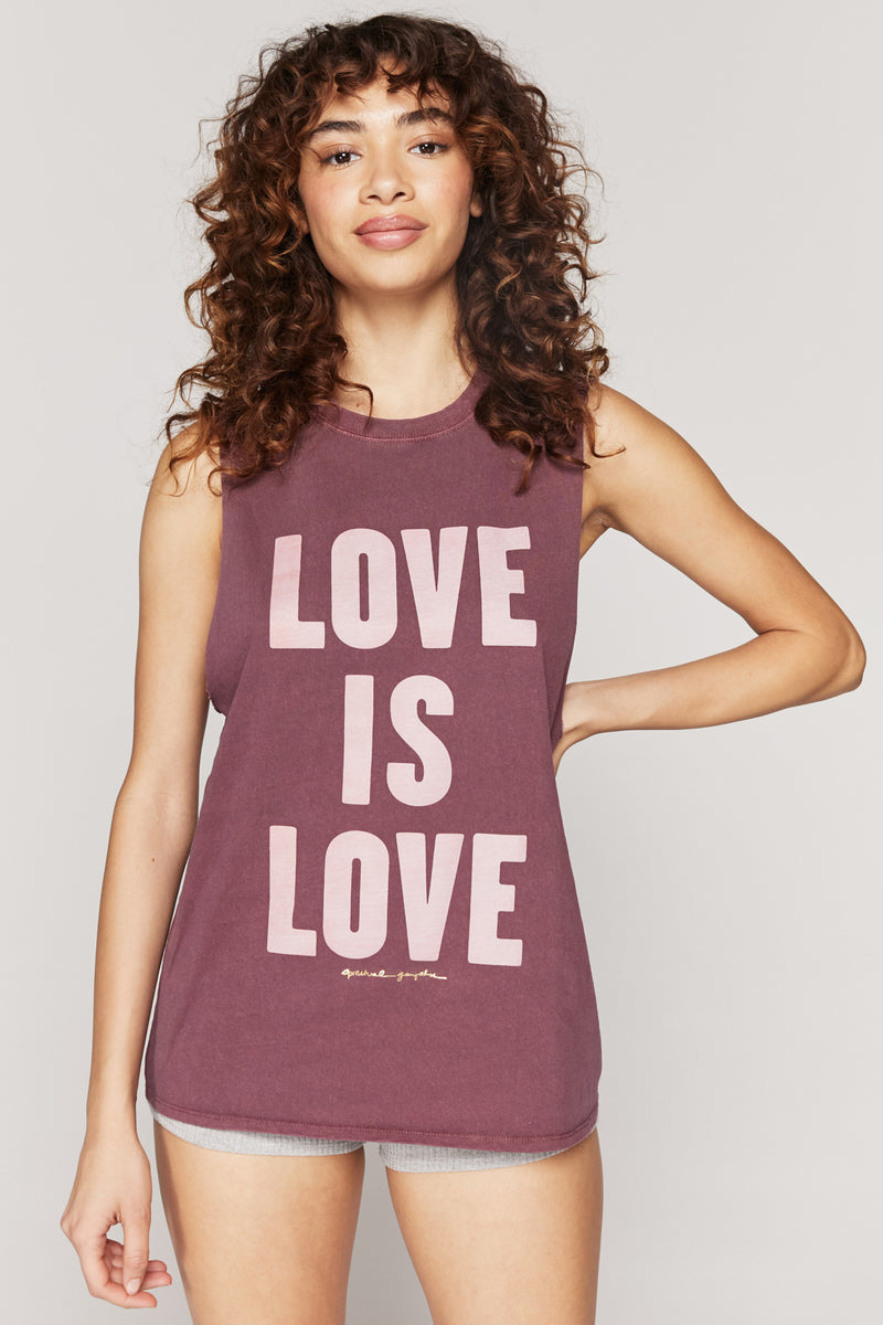 LOVE  IS LOVE CUT OFF BAND TANK