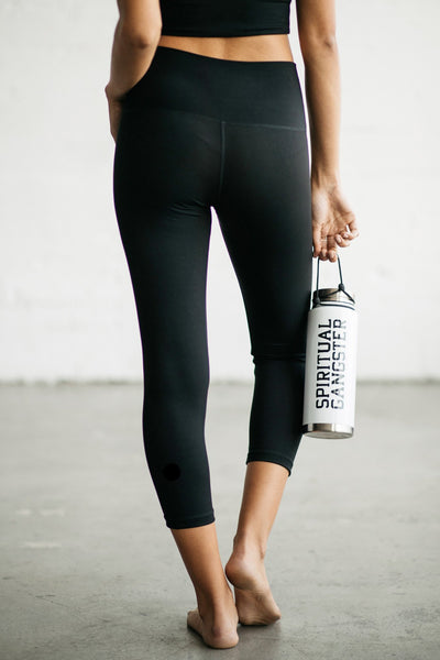 HIGH VIBE CROP LEGGING VINTAGE BLACK - Spiritual Gangster