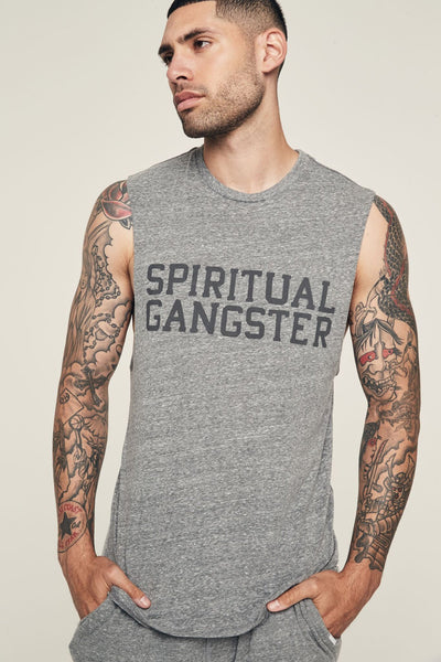 SG VARSITY MENS MUSCLE TANK HEATHER GREY - Spiritual Gangster