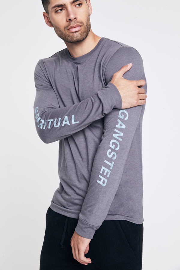 OBLIQUE LONG SLEEVE PERFORMANCE TEE ASH - Spiritual Gangster