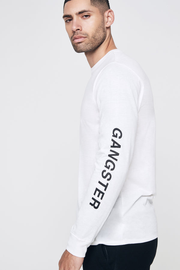 OBLIQUE LONG SLEEVE PERFORMANCE TEE WHITE - Spiritual Gangster