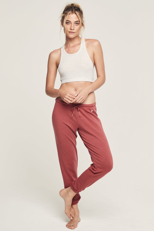 HEART EMBROIDERED FAVE SWEATPANT DUSTY CEDAR - Spiritual Gangster