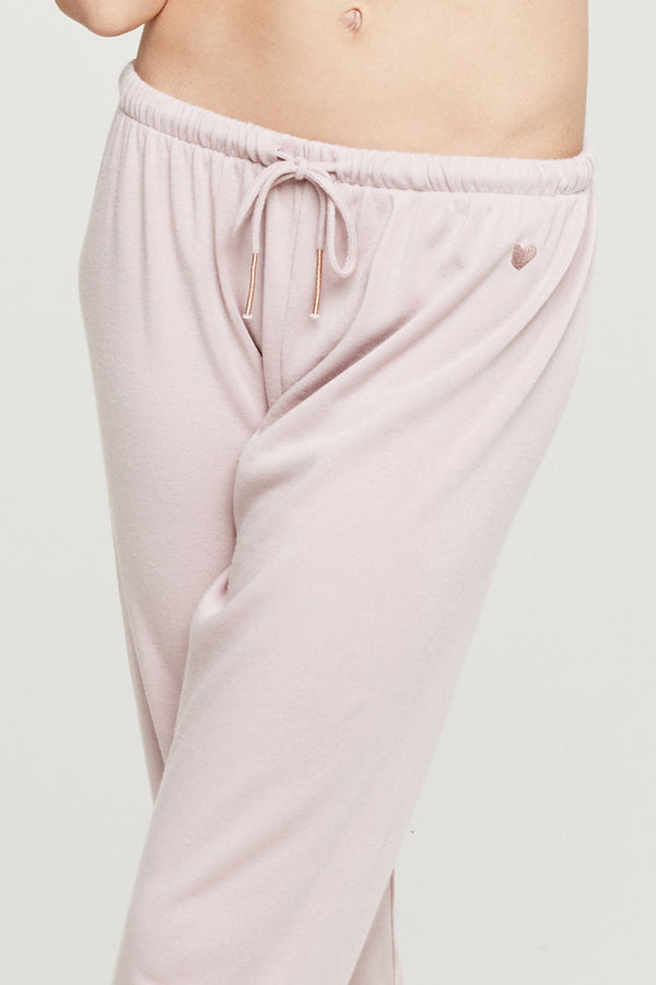 HEART EMBROIDERED FAVE SWEATPANT BLUSH - Spiritual Gangster
