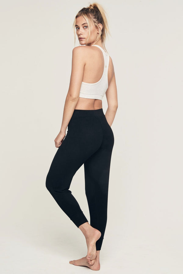 BALLET RIB WARM UP PANT BLACK - Spiritual Gangster