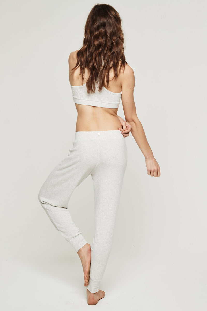 BALLET RIB WARM UP PANT HEATHER GREY