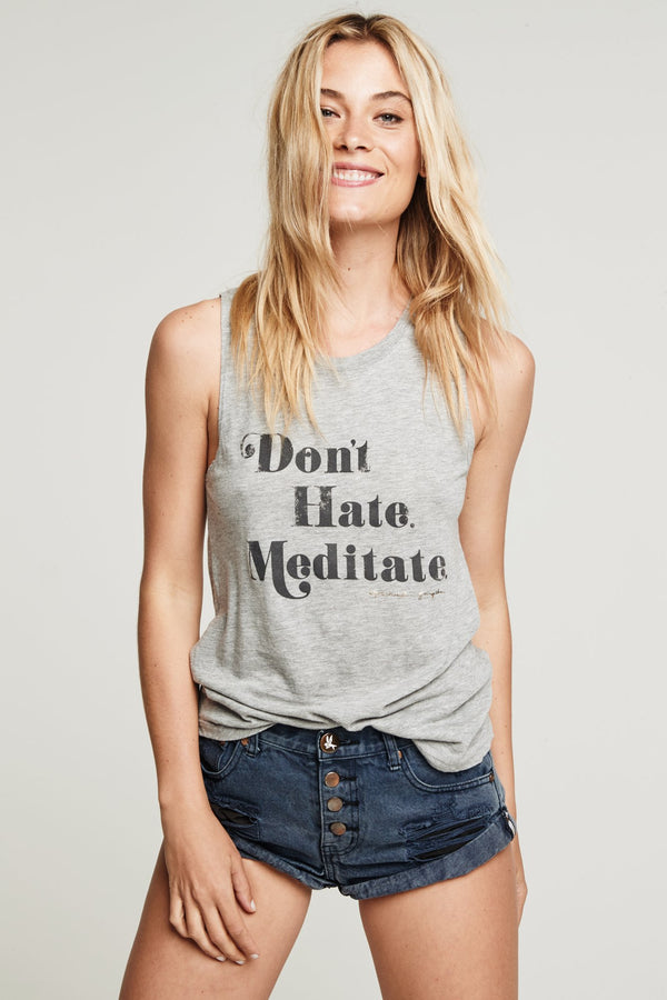 DONT HATE MEDITATE MUSCLE TANK - Spiritual Gangster