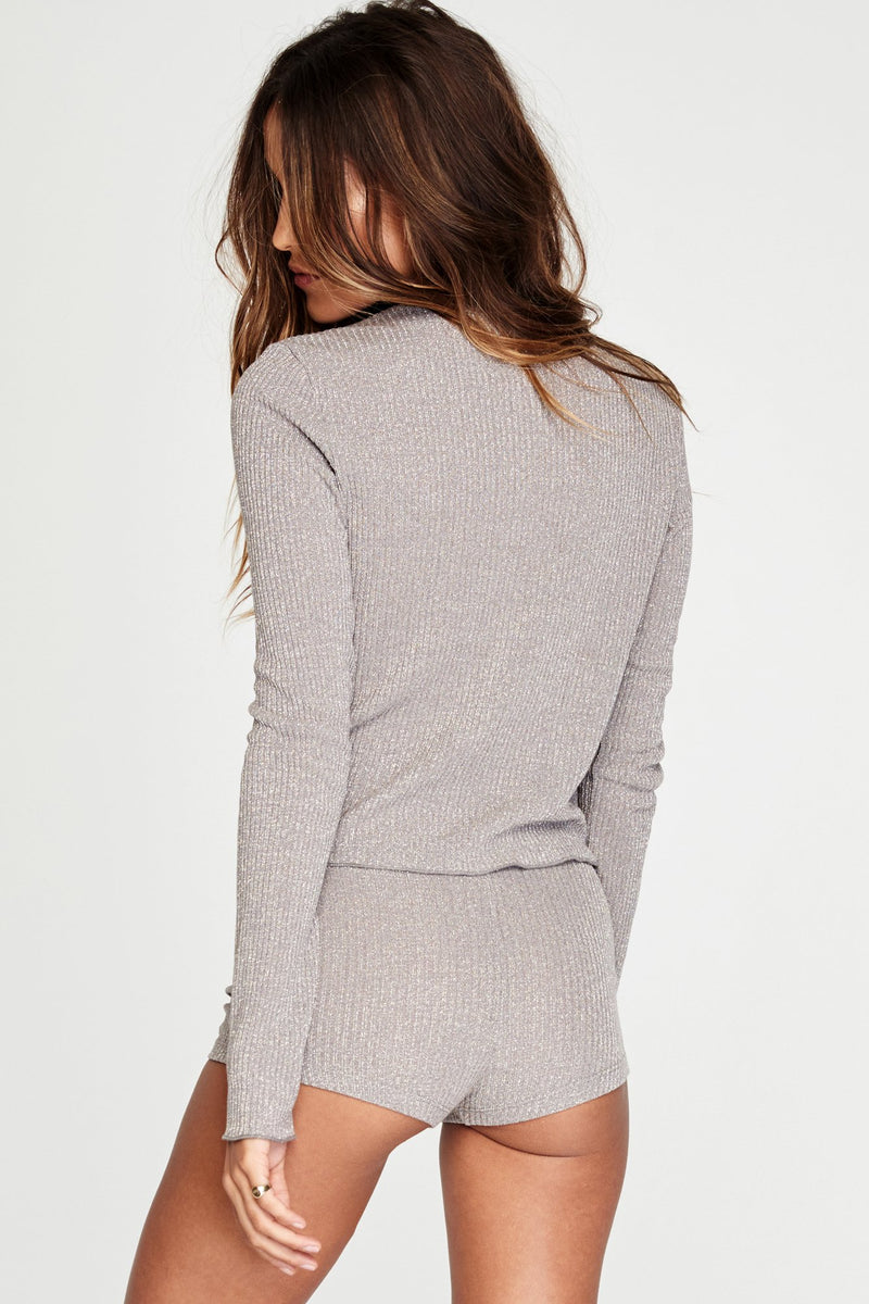 Lurex Rib Long Sleeve Crop Top