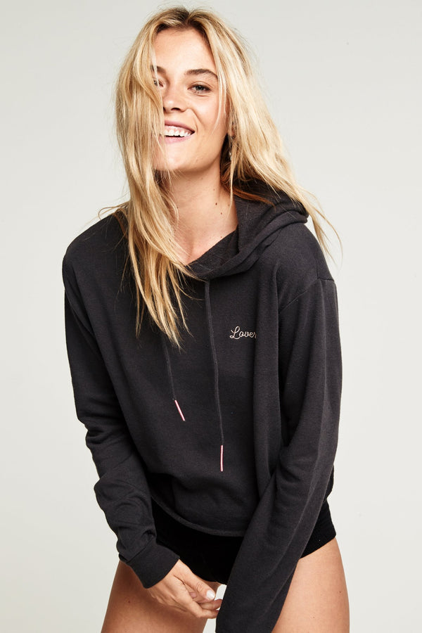 LOVER EMBROIDERED RAW EDGE HOODIE - Spiritual Gangster