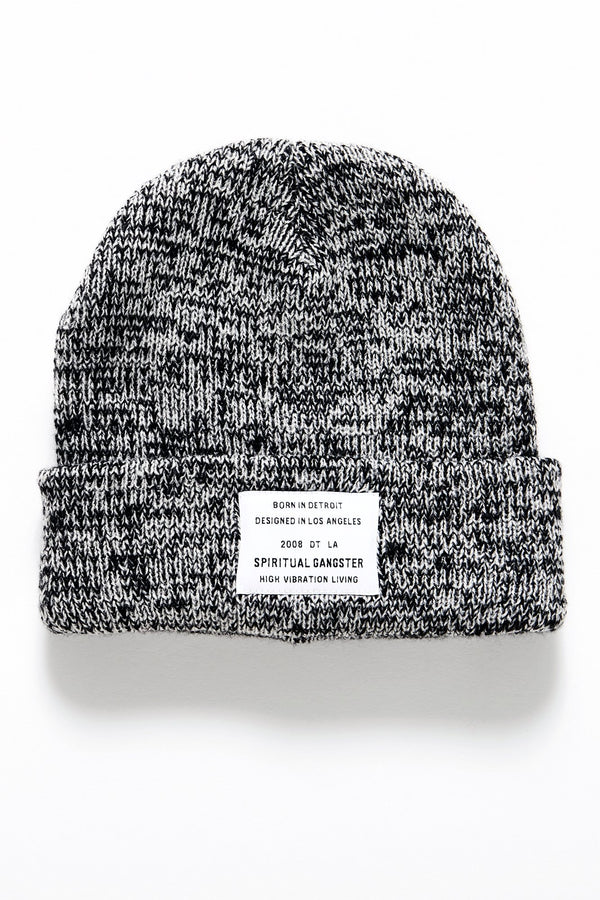 LONGEVITY KIDS BEANIE BLACK / WHITE - Spiritual Gangster