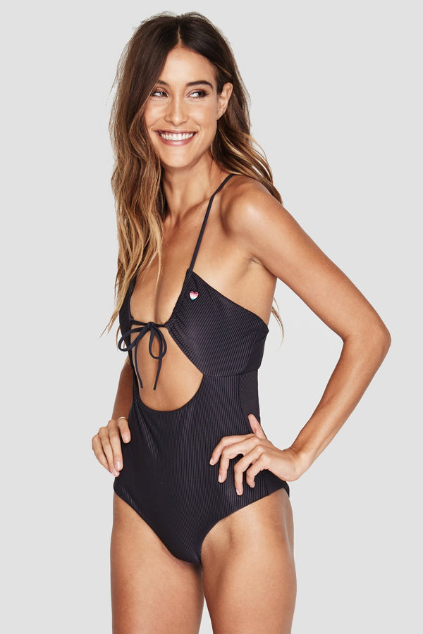 SHORE ONE PIECE RIBBED SWIMSUIT VINTAGE BLACK - Spiritual Gangster