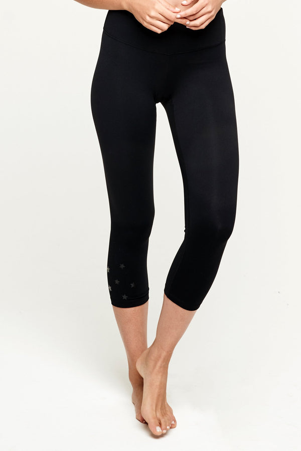STARS POWER CROP LEGGING BLACK - Spiritual Gangster