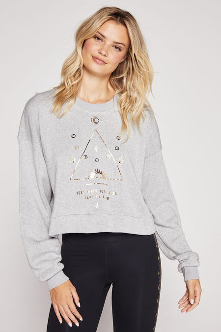 BANDED CROP LONG SLEEVE TEE HEATHER GREY