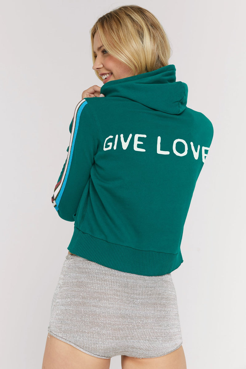 GIVE LOVE RAW EDGE HOODIE