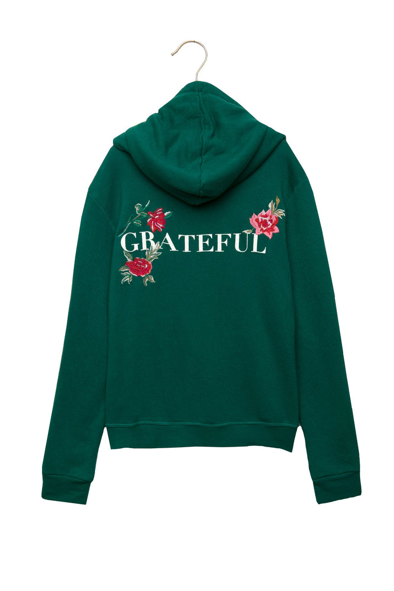 GRATEFUL GIRLS PULLOVER HOODIE EVER GREEN