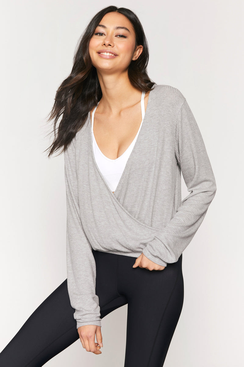BALLET RIB SURPLICE TOP