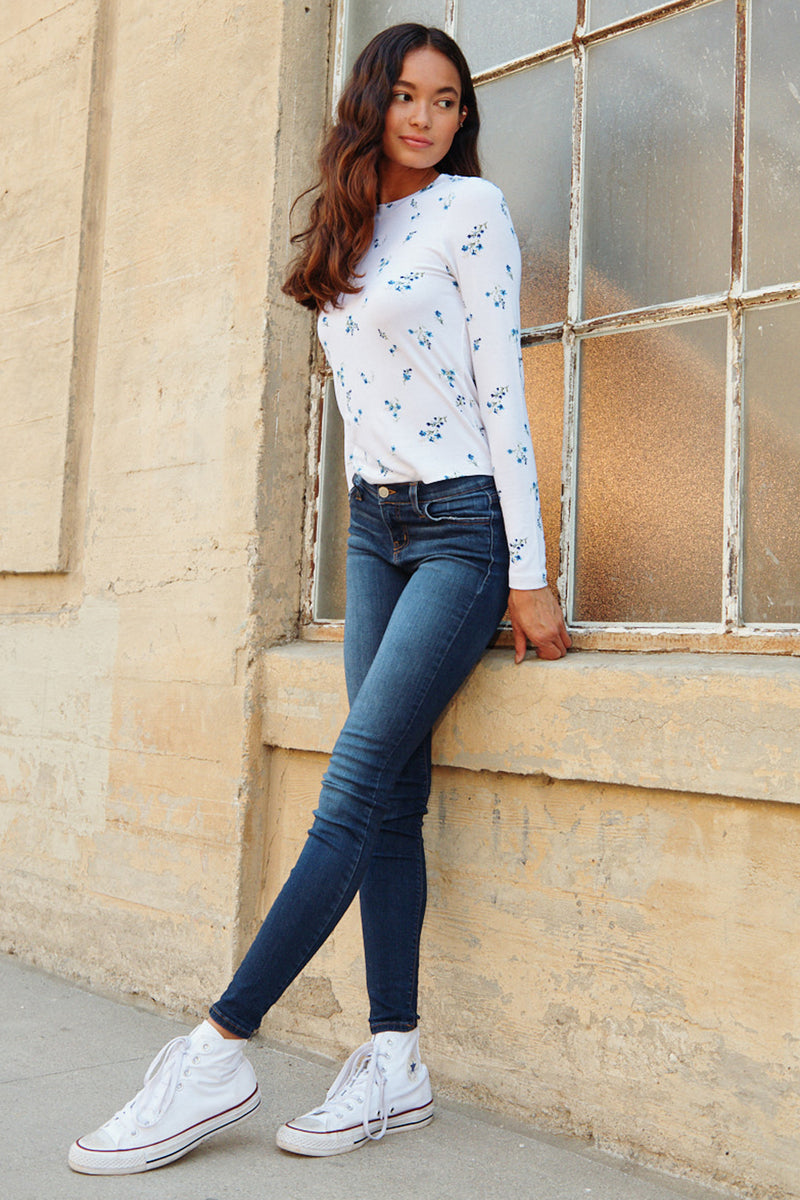 Floral Long Sleeve Rib Tee