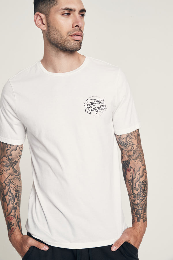 HIGH VIBRATION LOGO TEE WHITE - Spiritual Gangster