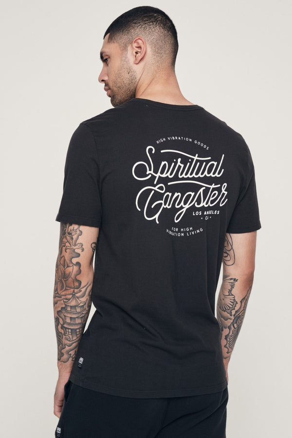 HIGH VIBRATION TEE VINTAGE BLACK - Spiritual Gangster