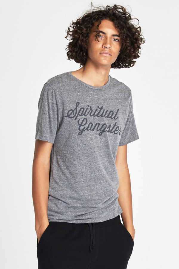 SG SCRIPT TEE HEATHER GREY - Spiritual Gangster